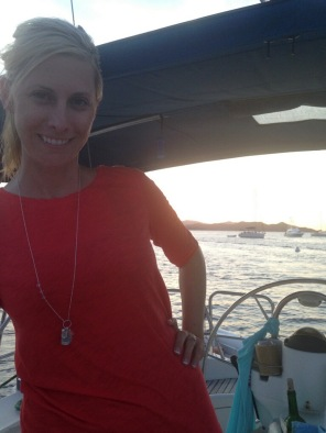 A beautiful new bride on her honeymoon in the Virgin Islands with her custom stamped necklace.