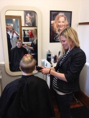 Lucy hard at work in her threader earrings at Brian Chapman Hair Salon in Doylestown, PA!
