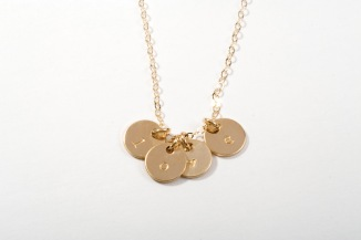 Gold Circle Charm Initial Necklaces